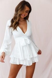 Fit & Flare Long Sleeve Romper White -Maddox Fit & Flare Long Sleeve Romper White - Rompers/Jumpsuits > Feeling The Night Romper In White Stripes Fluid Feelings Playsuit White On Rotation playsuit in green Elegant Dresses, Sexy Dresses, Cute Dresses, Short Dresses, Dresses With Sleeves, Formal Dresses, Awesome Dresses, White Casual Dresses, Tight Dresses