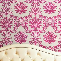 Elegant Damask stencils for walls. Wall stencils, damask wall patterns at great prices Large Wall Stencil, Stencil Decor, Damask Stencil, Stencil Designs, Wall Stenciling, Damask Wall, Fabric Embellishment, Essentials, Wall Patterns