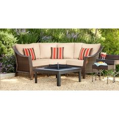 Rolston 3 Piece Wicker Patio Sectional Conversation Furniture Set    Threshold™