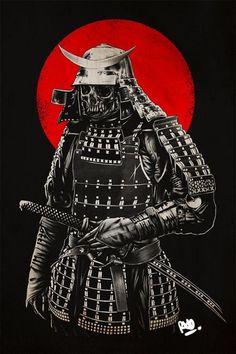 Samurai Skull With Helmet And Wave Tattoos On Half Sleeve photo - 5