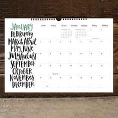 Hey, I found this really awesome Etsy listing at https://www.etsy.com/il-en/listing/235504216/a-hand-lettered-year-2016-wall-calendar