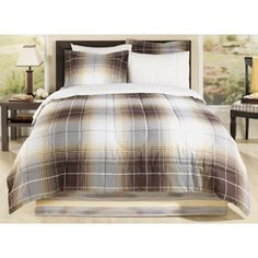 Mainstays Brown Plaid Bed in a Bag Bedding Set