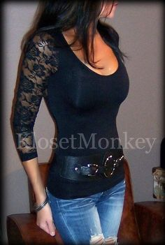 SEXY BLACK TEE SHEER SEE-THROUGH LACE BACK SCOOPNECK STRETCH GEMMA TELLER ONE SZ