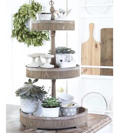 """""""Sharing an easy way to add decor to your kitchen #ontheblog today, with my favorite 3-tiered tray from @paintedfox1. Direct link in profile.…"""""""
