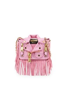 "MoschinoJacket Shoulder Bag, Pink .....     Moschino lambskin leather shoulder bag.     Unique moto jacket motif with zip accents.     Woven chain shoulder strap loops through top; 21"" drop.     Embossed logo label at front.     Flap top with magnetic snap closures.     Inside, fabric lining; one slip pocket.     5.5""H x 7.5""W x 2.5""D.     Made in Italy."