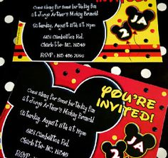 Mickey Inspired Birthday Party Printables Supplies Partyware