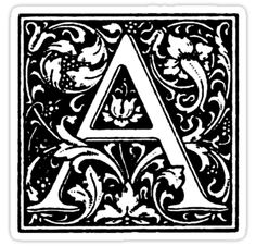 William Morris Renaissance Style Cloister Alphabet Letter A by Pixelchicken Initial Fonts, Monogram Letters, Monogram Initials, Initial Art, William Morris, Free Coloring Sheets, Coloring Pages, Monogram Coasters, Classic Artwork