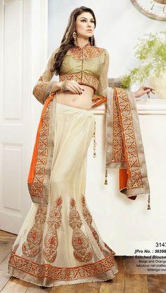 SareeStudio Orange Cream Wedding Wear Embroidery Work Chiffon Net Lehenga