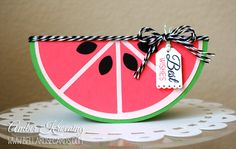 Watermelon card - Scrapbook.com - Create a watermelon slice shaped card with cardstock and a die cut machine.