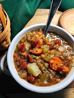 Make this veggie lentil soup in the Instant Pot (or other pressure cooker).It is full of vegetables and flavor without the added oil. This lentil soup is whole food plant-based. It works great for meal prep too. Veggie Lentil Soup, Lentil Soup Recipes, Vegetarian Recipes, Vegan Soups, Instant Pot, Whole Food Recipes, Cooking Recipes, Diet Recipes, Tomatoes