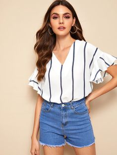 To find out about the V-neck Striped Flounce Sleeve Blouse at SHEIN, part of our latest Blouses ready to shop online today! Ruffle Fabric, Outfits Mujer, Summer Shirts, Types Of Sleeves, Types Of Shirts, Blouses For Women, Women's Blouses, Fashion News, Women's Fashion