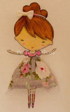 Pedacinhos de Arco Íris: Camisola Ballerina (Ballerina girl shirt, handpainted, embroidered, fabric & lace skirt)