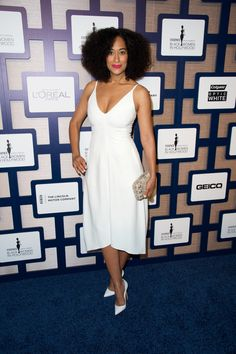 Who: Tracee Ellis Ross  When: 2/19/15  Why: Ever a style icon, Ellis Ross is practically angelic in this Reed Krakoff number, which marks the designer's second appearance on the list this week. I smell a trend!    - ELLE.com
