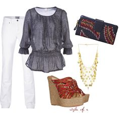 this wallet/clutch and white pants in the the summer are totally amazing, love them together