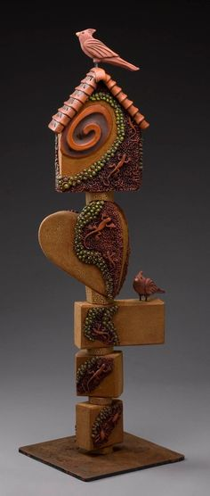 Ceramic Sculpture Totem The Cardinal (must click on this to see the entire sculptue)