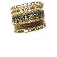 Glam Rock Leather Bracelet, Leather and Metal Bracelet, Brass... ($95) ❤ liked on Polyvore featuring jewelry, bracelets, boho bangles, bohemian jewellery, brass bangles, bohemian bangles and bohemian style jewelry