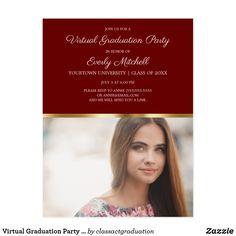Shop Virtual Graduation Party Burgundy Gold Photo Postcard created by classactgraduation. College Graduation Parties, Grad Parties, Graduation Party Invitations, Online Invitations, Burgundy And Gold, Photo Postcards, Party Photos, Postcard Size, Card Sizes