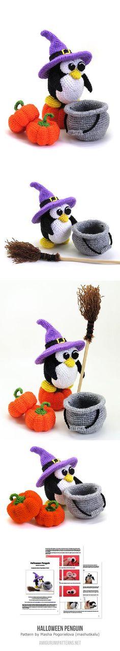 Halloween penguin amigurumi pattern by Masha Pogorielova (mashutkalu)