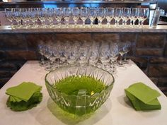 Midori-flavored punch to match the green theme. We had to fill the punch bowl 3 times!!