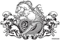 Vecteur : hippocampus mythological sea horse