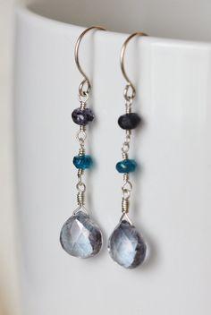 Selene - Mystic Tanzanite Blue Quartz and Peackcock Apatite and Iolite Argentium Sterling Silver Earrings, by PrincessTingTing, $27.00