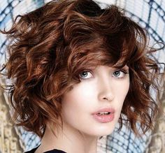 Combing Curly Effect Windswept haircuts With Bangs Spring Summer ...