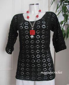 Magia do Crochet: Túnica e blusa em crochet - o mesmo ponto e a mesma cor