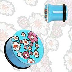 10mm ( 00 GA ) Blue UV Acrylic Oriental Flower Blossom Single Flare Saddle Plug Ear Gauge Flesh Tunnel With O rings. by buff-ebj, http://www.amazon.co.uk/dp/B0095L4GQE/ref=cm_sw_r_pi_dp_GRY3qb05ZA1YN