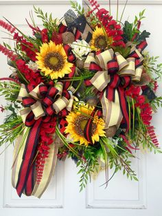 Red and Yellow Sunflower Mesh Burlap Everyday and Summer Wreath by WilliamsFloral on Etsy https://www.etsy.com/listing/235917974/red-and-yellow-sunflower-mesh-burlap