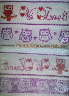 corujas ponto cruz  owl cross stitch