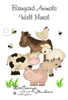 """Barnyard Farm Animals Wall Mural for baby nursery or any children's room decor. Includes a horse, cow, sheep, goat, pig, and chicken. Measures 30"""" (76cm) #decampstudios"""