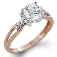 Simon G Split Shank Two Tone Gold Diamond Engagement Ring