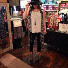 Loving Lisa's trendy style today! Duster($40). Hat($40). Denim($55). Shirt($32). Booties($45). #frankieandjules #blogger #boutique #fnjlove #style #ootd #spring #summer #hat #boho