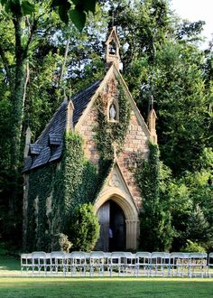 The stone church covered in ivy,  to me,  looks like a barn  rather than a church.  The ivy growing in the side shows that there is more to the wild rather than to something so refined, such as a church.   In the valley amongst the oak & elm trees stood a little stone church covered in ivy!