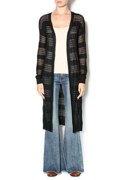 Lightweight,long, openknit cardigan. Cardigan hits at the knees and has a sheer stripe pattern.   Cut Out Long Cardigan by olive & oak. Clothing - Sweaters - Cardigans New Jersey