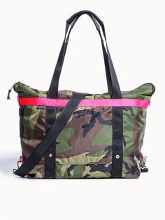 Large Signature Andi Bag in Camouflage With Hot Pink