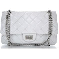 CHANEL Aged Calfskin 50th Anniversary 2.55 Reissue 227 White ❤ liked on Polyvore