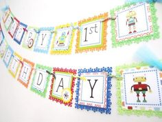 Robot Happy Birthday Banner Decoration for Kids Party | adorebynat - Seasonal on ArtFire