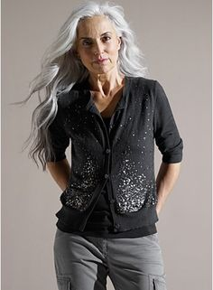 This picture (from an Eileen Fisher ad campaign) is on my refrigerator to inspire me, reminding me that grey hair and wrinkles can be gorgeous.  I'm boycotting Eileen Fisher until they return to using models like this one.  Their current campaign features no model over 30 years old.  Very sad.  UPDATE: I've received very thoughtful response from EF reiterating their commitment to models of all ages, including some links to prove the point.  Sorry for ranting!