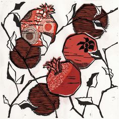 botanical woodcut prints with chine colle