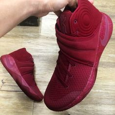 Fluff suede strap first time on Kyrie 2. What do you think? #kyrie2 #kyrieirving #redvelvetcake #teamred #uncledrew #id4shoes #teamred #fluffsuede #playoff