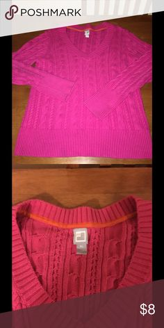 JCP Pink Cable Knit Sweater XL Vibrant pink v neck sweater.  Warm cable knit style.  Size XL.  JCP.  Great condition!   Important:   All items are freshly laundered as applicable prior to shipping (new items and shoes excluded).  Not all my items are from pet/smoke free homes.  Price is reduced to reflect this!   Thank you for looking! jcpenney Sweaters V-Necks