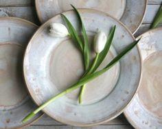 Rústico blanco placas vajilla de cuatro platos de cerámica hecha a mano gres vajilla listo a nave Made in USA