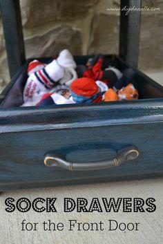 Sock Drawers for the Front Door (Repurposing Drawers)   DIY Danielle