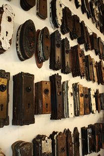 Antique backplates for doorknobs (Preservation Station- Nashville, TN) love architectural salvage stores!