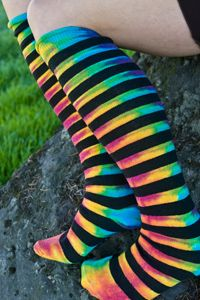 Classic tie dyed pattern on our knee high striped Dream Stockings, we think the result is pretty fantastic!  Made and dyed in the USA.