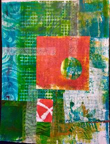 Happiness is....~I've been wanting to use my Gelli prints in collages and this is my first endeavor. I also used some strips of deli paper that I had made random marks on.