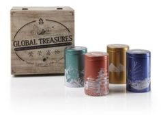 Global Treasures Tea Gift Set: Tranquility and harmony await in this unique collection of worldly blends culled from the sun-kissed Sahara in Morocco, diverse cultures of Java Indonesia, glistening white sand beaches of Cuba, and the mysteries of the famed Asian Spice Route. Bon Voyage! Includes 4 air-tight tins and 2oz each of the following teas: Javavana Mate, Golden Mojito, Moroccan Mint, and Spiced Mandarin Oolong. #Teavana