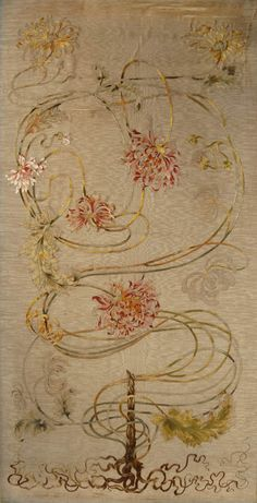 Hermann Obrist, This unpublished Jugendstil embroidery comes from a private collection in Florence, where Hermann Obrist took up residence in 1892 and began his work as a designer of embroidery, in partnership with Berthe Ruchet. Very little is known about the earliest work by Obrist in this medium, but the similarity of this still relatively naturalistic design and its execution in silk threads on a silk panel, to Obrist's documented Munich embroideries of a few years later - including the...