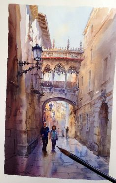 Por amor al arte: Igor Sava Colour Architecture, Watercolor Architecture, Architecture Drawings, Watercolor Landscape, Watercolor Sketch, Watercolor Artists, Watercolour Painting, Painting & Drawing, Watercolors
